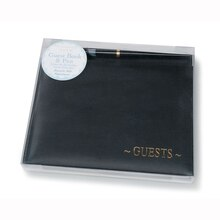 Victoria Lynn Black Guestbook with Gold Embossing in Package