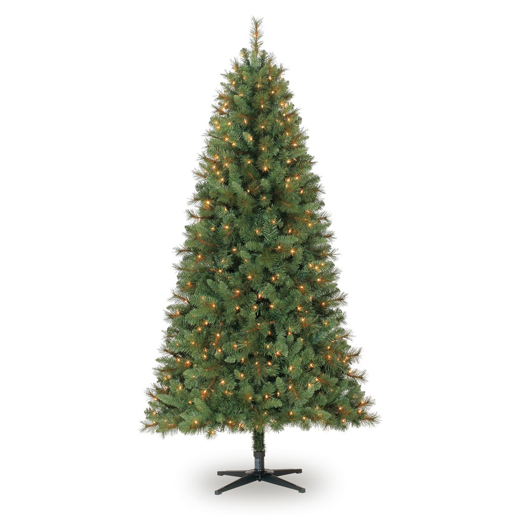7 Ft. Pre-Lit Green Full Willow Pine Artificial Christmas ...