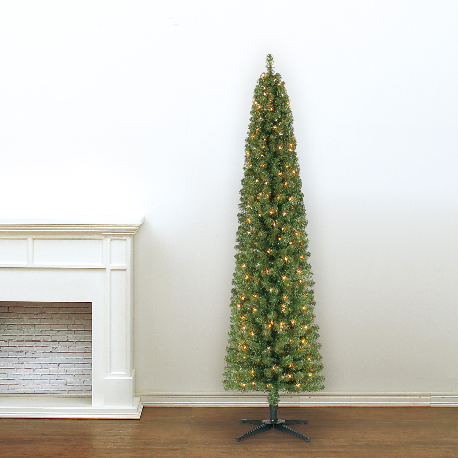 7 Ft. Pre-Lit Green Pencil Artificial Christmas Tree, Clear Lights ...