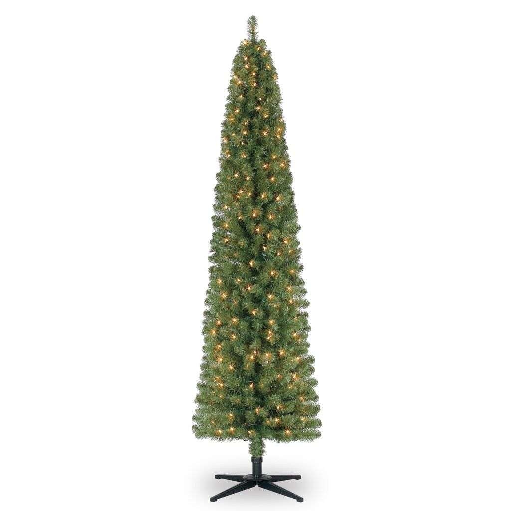 7 Ft Pre Lit Green Pencil Artificial Christmas Tree Clear Lights  - Michaels Christmas Lights
