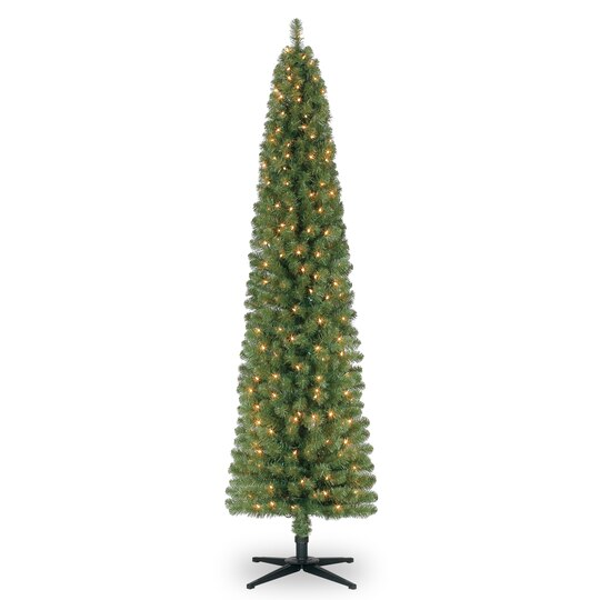 7 Ft Pre Lit Green Pencil Artificial Christmas Tree Clear Lights  - 7 Ft Artificial Christmas Trees