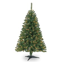Celebrate It Pre-Lit Hillside Pine Christmas Tree, Clear, 4 ft