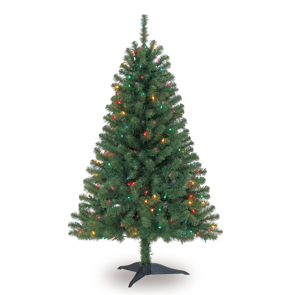 4 ft pre lit hillside pine artificial christmas tree multicolor lights by ashland - 3 Christmas Tree