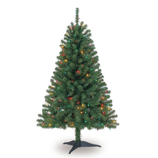 4 ft pre lit hillside pine artificial christmas tree multicolor lights by ashland - 4 Christmas Tree