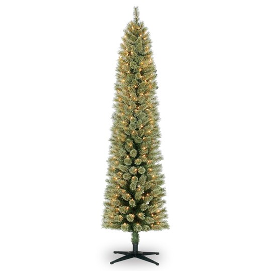 7 ft pre lit green pencil cashmere artificial christmas tree clear lights by ashland - Artificial Christmas Trees With Lights
