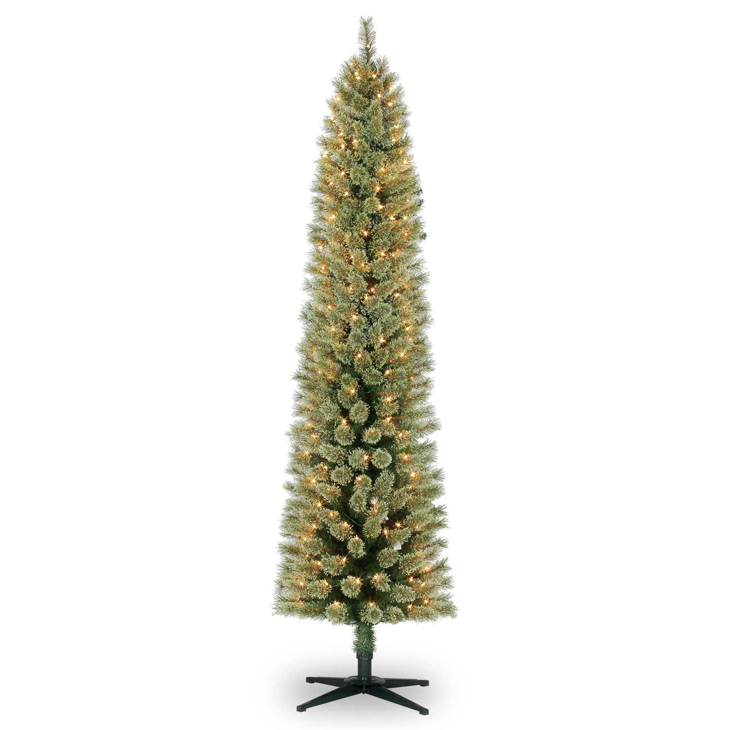 7 ft prelit green pencil cashmere artificial christmas tree clear lights by ashland