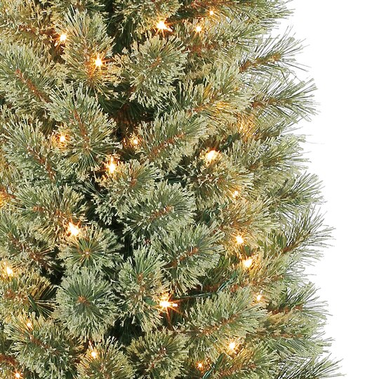 7 Ft Pre Lit Green Pencil Cashmere Artificial Christmas Tree  - 7 Ft Artificial Christmas Trees