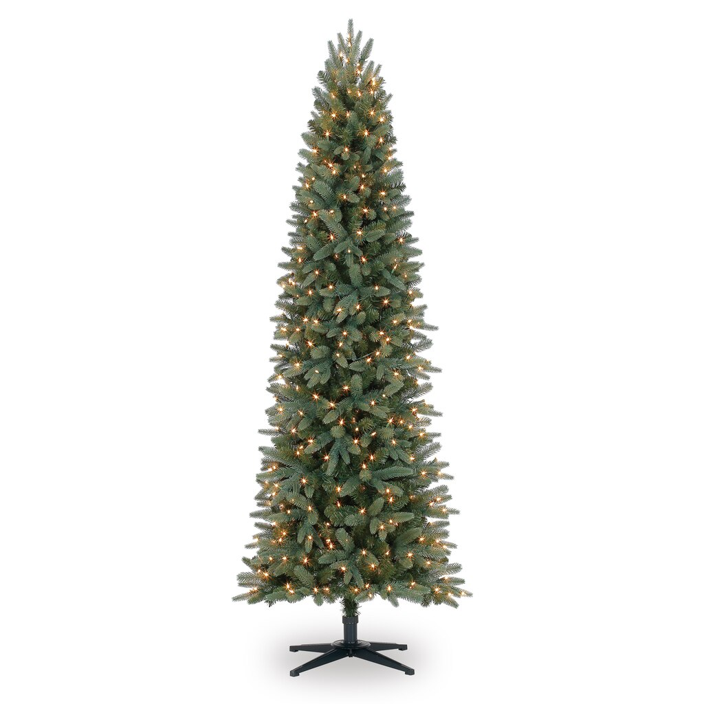 7 ft pre lit bristol pine green pencil artificial christmas tree clear lights by ashland. Black Bedroom Furniture Sets. Home Design Ideas