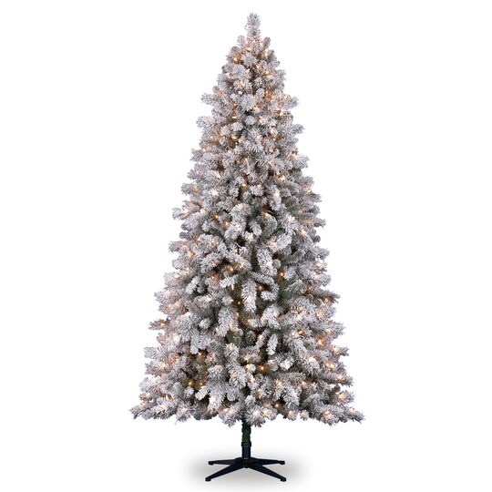 Artificial Christmas Trees Clearance: 7.5 Ft. Pre-Lit White Full Flocked Vermont Pine Artificial