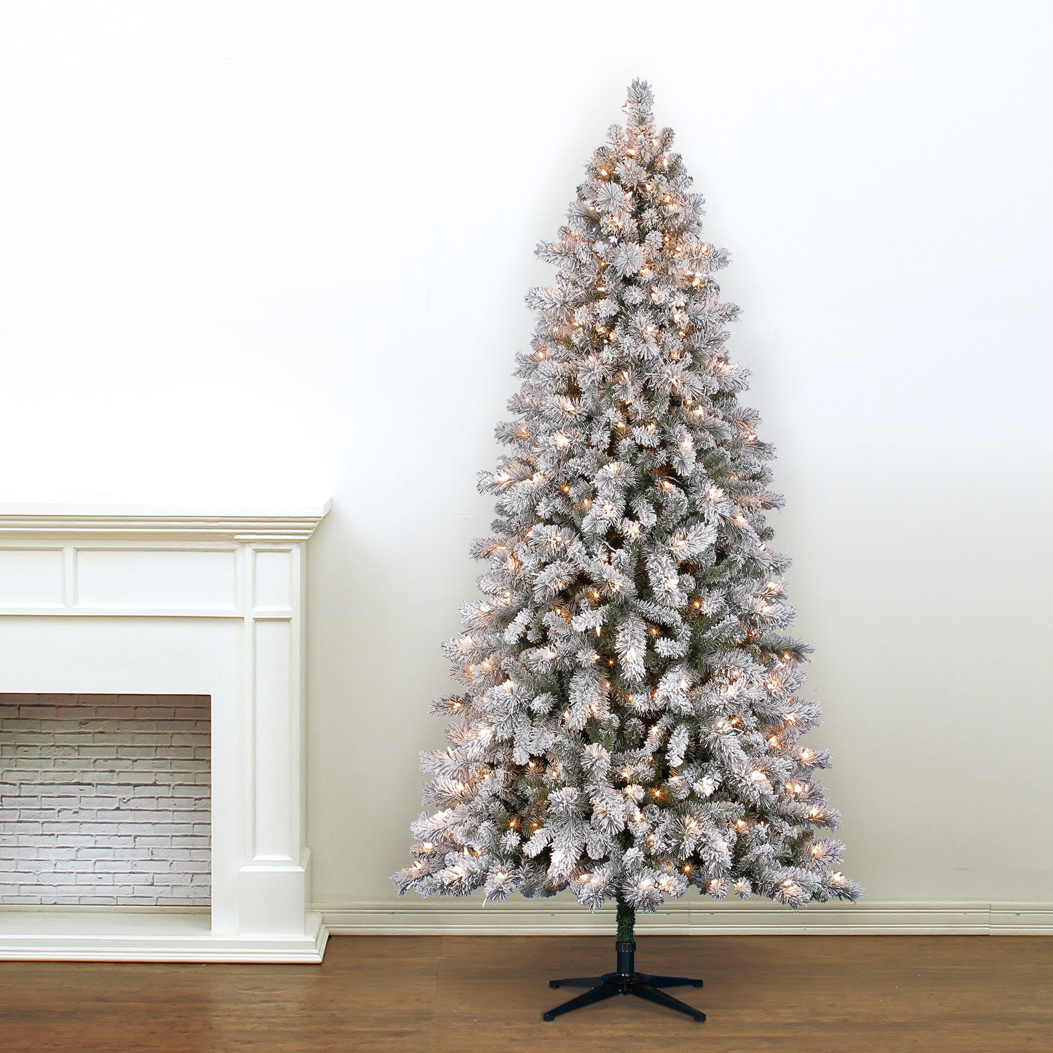 7.5 Ft. Pre-Lit White Full Flocked Vermont Pine Artificial ...