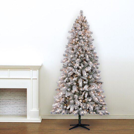 75 ft pre lit white full flocked vermont pine artificial christmas tree clear lights by ashland - Pre Lit White Christmas Tree