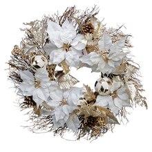 White Poinsettia Mix Wreath By Ashland