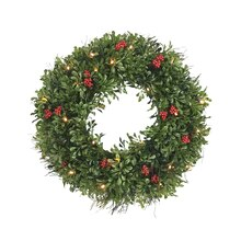 Boxwood Wreath with Lights By Celebrate It