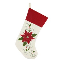 Red Poinsettia Stocking By Celebrate It