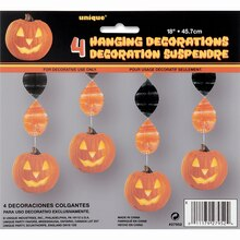 Hanging Carved Pumpkin Halloween Decorations, 4ct Pack
