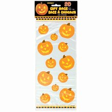 Carved Pumpkin Halloween Cellophane Bags, 20ct