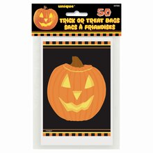 Carved Pumpkin Halloween Treat Bags, 50ct