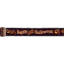 Foil Pumpkin Grin Halloween Banner, 12 Ft.