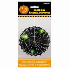 "Spider Halloween Paper Fan Decoration , 12"" Pack"
