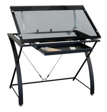 "Contemporary Glass Top Drafting Table by Artist's Loft 40.5"" x 23.5"""