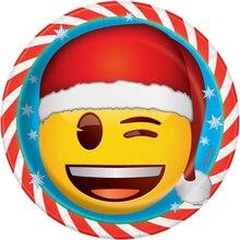 "9"" Emoji Christmas Party Plates, 8ct"