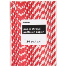 Ravishing Red Striped & Polka Dot Paper Straws, 24ct