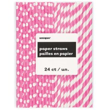 Diva Pink Striped & Polka Dot Paper Straws, 24ct