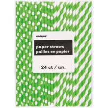 Lime Green Striped & Polka Dot Paper Straws, 24ct