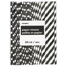 Black Striped & Polka Dot Paper Straws, 24ct
