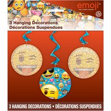 Hanging Emoji Decorations, 3ct Pack