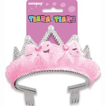 Plastic Pink Bows & Ribbon Princess Tiara