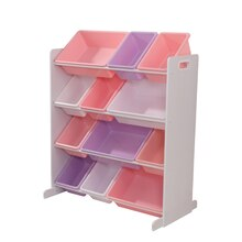 KidKraft Sort It & Store It 12 Bin Unit, White with Pastel Bins