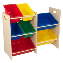 KidKraft 7 Plastic Bin Storage Unit, Primary