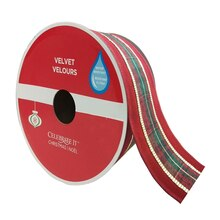 """Plaid Velvet Wired Christmas Ribbon By Celebrate It, 2.5"""" x 30ft."""