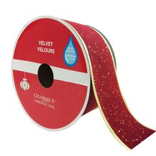 "Glitter Red Velvet Wired Christmas Ribbon By Celebrate It, 2.5"" x 30ft."