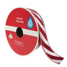 """Candy Cane Wired Velvet Christmas Ribbon By Celebrate It, 1.5"""" x 40ft."""