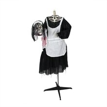 "56"" Battery Operated Lighted LED Skeleton Maid Animated Halloween Decoration"