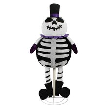 "39"" LED Lighted Spooky Standing Skeleton Ghost Halloween Decoration"