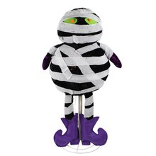 "34"" LED Lighted Standing Black & White Mummy Halloween Decoration"