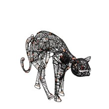 "32"" Lighted Spooky Halloween Black Cat Yard Art Decoration, Orange Lights"