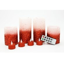 Ivory & Red Glitter LED Christmas Candles By Ashland