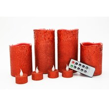 Red Glitter LED Christmas Candles By Ashland
