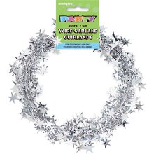 Wire Silver Star Garland, 20 Ft
