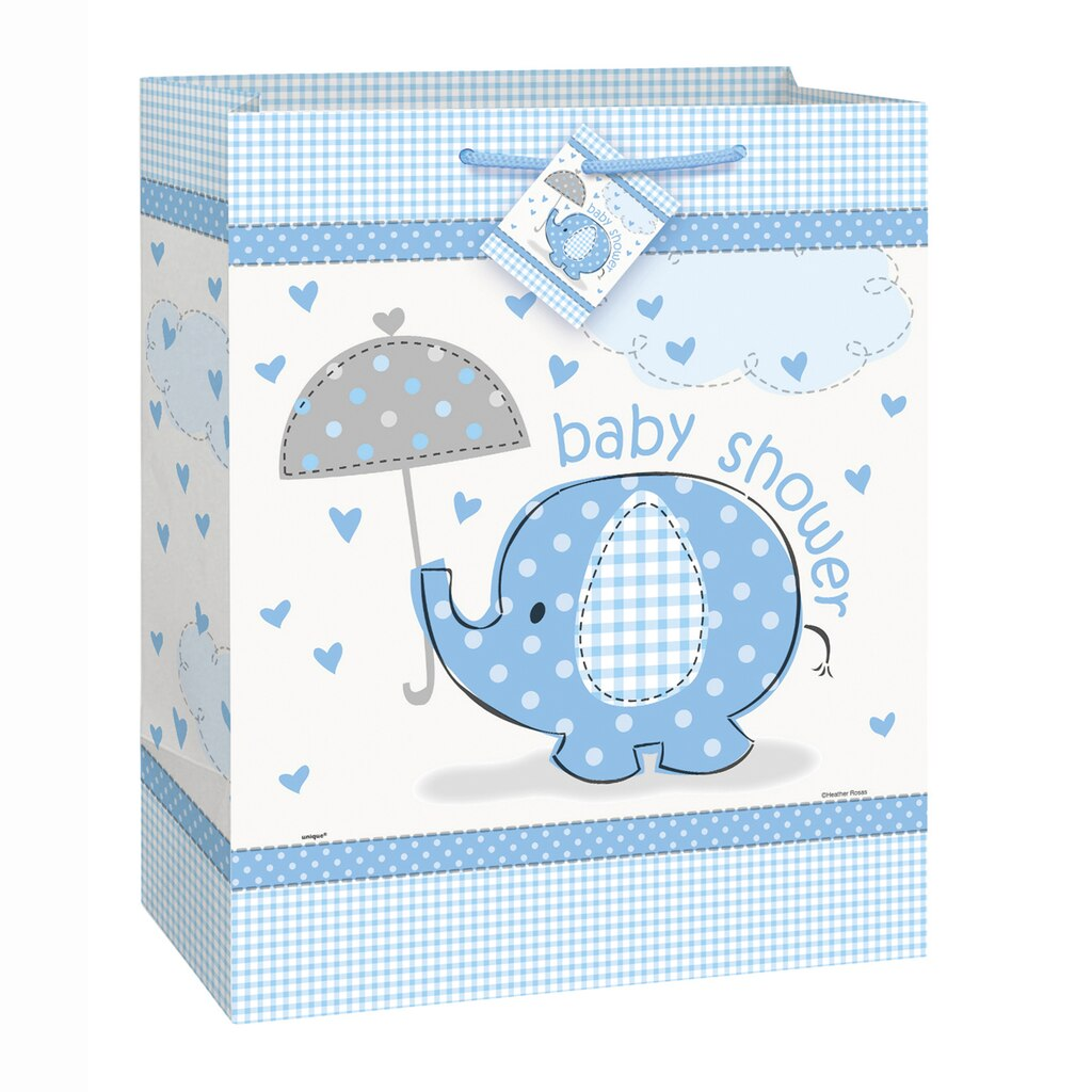 large blue elephant boy baby shower gift bag boy baby shower gift wrap. Black Bedroom Furniture Sets. Home Design Ideas