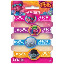 Trolls Rubber Bracelet Party Favors, 4ct