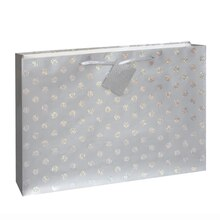 Large Glitter Polka Dot Silver Gift Bag