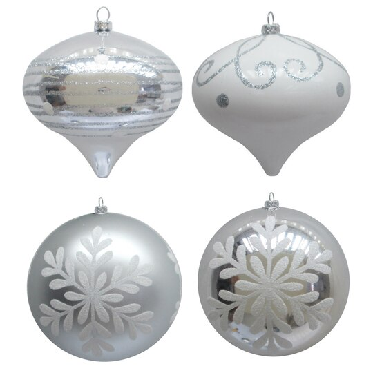 Find the 4ct silver white ornaments by celebrate it at for Michaels christmas tree ornaments