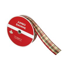 "Gold & Plaid Jumbo Ribbons By Celebrate It, 1.5"" x 125 ft."
