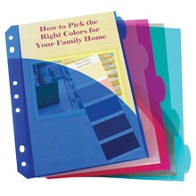 Mini-Size 5-Tab Poly Index Dividers with Pockets, 12 Packs of 5
