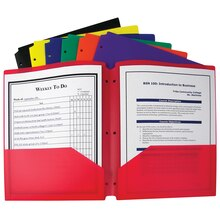 Two-Pocket Poly Portfolios with Three-Hole Punch, Box of 36